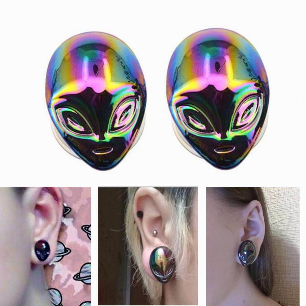 BODY PUNK iridiscente alien Pyrex vidrio medidores expansores del oído Ear Plugs y túnel Piercing cuerpo joyería alargador de orelha