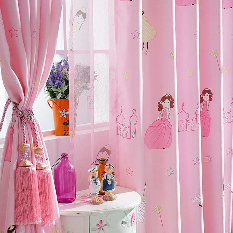 Baby Nursery Curtains Pink Curtains Kids Curtains Pair: Byetee Children Curtain Cartoon Princess Pink Girls Baby