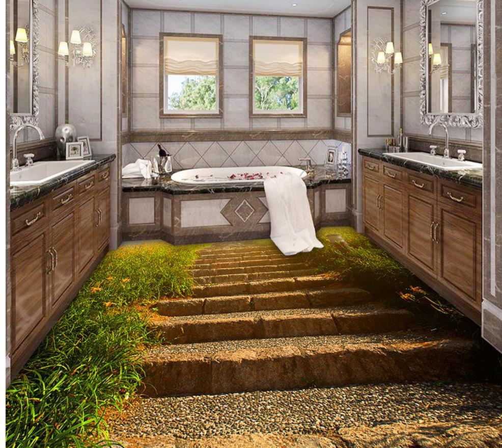 US $23.5 53% OFF|Wasserdichte boden Stein pfad treppen Badezimmer  Schlafzimmer 3D Boden pvc selbstklebende tapete boden 3d wallpaper-in  Tapeten aus ...