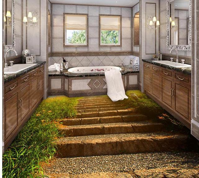 wasserdichte boden stein pfad treppen badezimmer schlafzimmer 3d boden pvc selbstklebende tapete. Black Bedroom Furniture Sets. Home Design Ideas