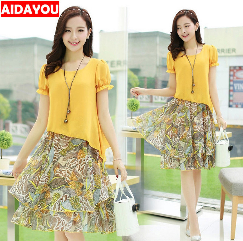 2 Piece Suits For Girl Summer Chiffon Skirts  Korean Blouse Plus Size 5XL Floral Set For Beach Daily Japanese Ouc2506A