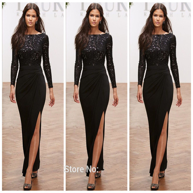 Nigerian lace gown styles Formal Black Long Sleeves Evening Dresses ...
