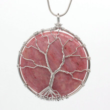 Trendy-beads Unique Silver Plated Wire Wrap Tree of Life Pendant Fashion Red Rhodonite Stone Jewelry