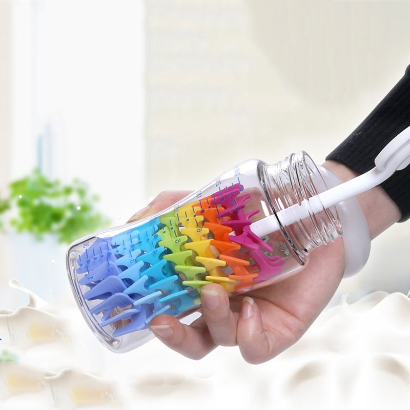 Colorful Silicone Baby Bottle Brushes for Cleaning Kids Milk Feed Bottle Nipple Pacifier Nozzle Spout Tube Cleaning Brush 2C