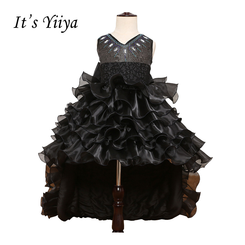 It's YiiYa Black Chiffon Sleeveless O-Neck Bow Ball Gown Zipper Tiered Lace Sashes Princess   Flower     Girl     Dresses   Communion TS180