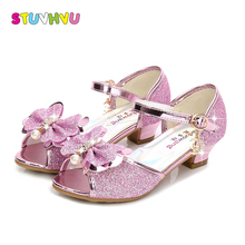 цены Summer new girls sandals sequin bow kids high heels party wedding crystal princess shoes fashion fish mouth children dance shoes