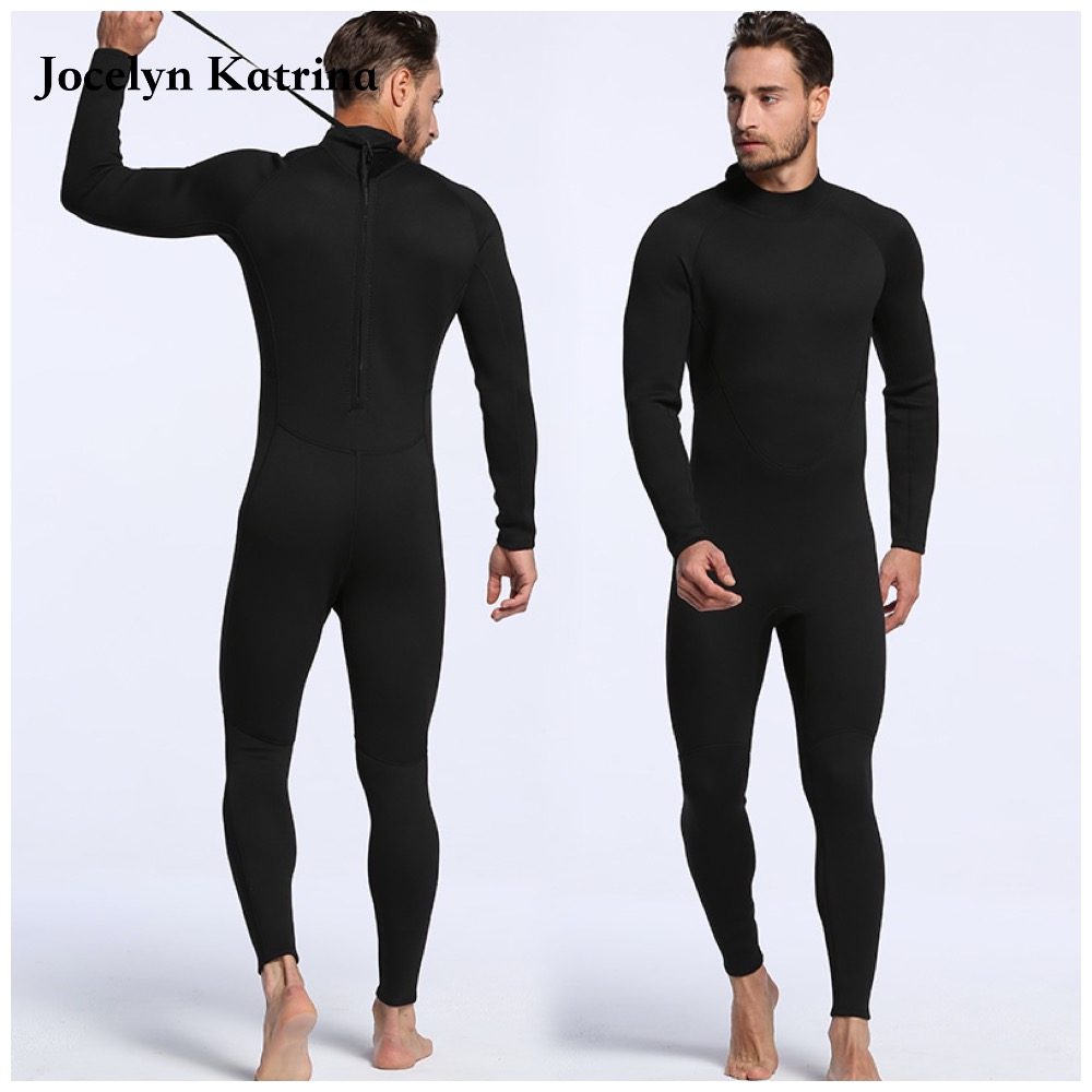 2017 Warm Men 3MM Thick Neoprene Spearfishing Wetsuit Black Solid One Piece Scuba Diving Suits Surfing Sailing Wet Suits2017 Warm Men 3MM Thick Neoprene Spearfishing Wetsuit Black Solid One Piece Scuba Diving Suits Surfing Sailing Wet Suits