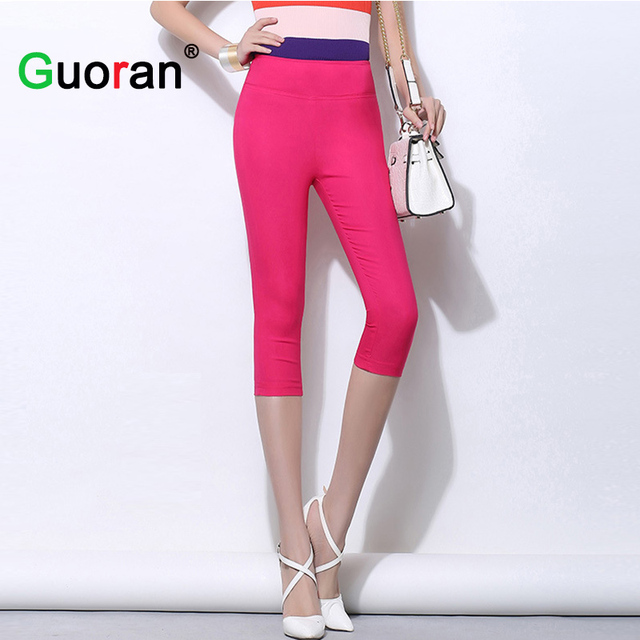 {Guoran}High Stretch Women Slim Stretch Capris Pencil Pants Candy Color Female Knee Length Elastic Waist Leggins Femme Pantalon