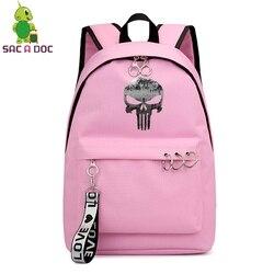 Punisher kobiet torby Mochila Escolar Feminina Plecak Szkolny Plecak Szkolny dziewczyny plecaki panie książka torby torba na laptopa torba na co dzień 3