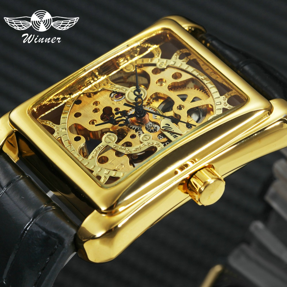 WINNER Retro Ladies Mechanical Watch Women Wristwatches Skeleton Rectangle Watches Leather Strap Gift +BOX winner women luxury brand skeleton genuine leather strap ladies watch automatic mechanical wristwatches gift box relogio releges