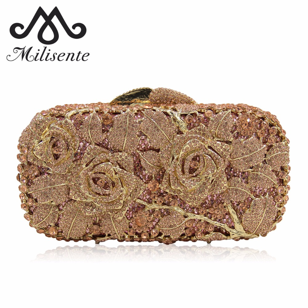 Milisente Luxury Flower Crystal Bags Designer Banquet Evening Clutches Wedding Bag With Chain Party Clutch Women Purse