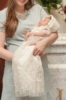 Милый младенческой Кружево длинные индивидуальный заказ для Обувь для девочек новорожденных крещение веревки платье на крестины благосло