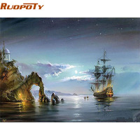 RUOPOTY Frame Abstract Seascape DIY Painting By Numbers Kits Coloring By Numbers Hand painted For Home Wall Art Picture 40x50cm