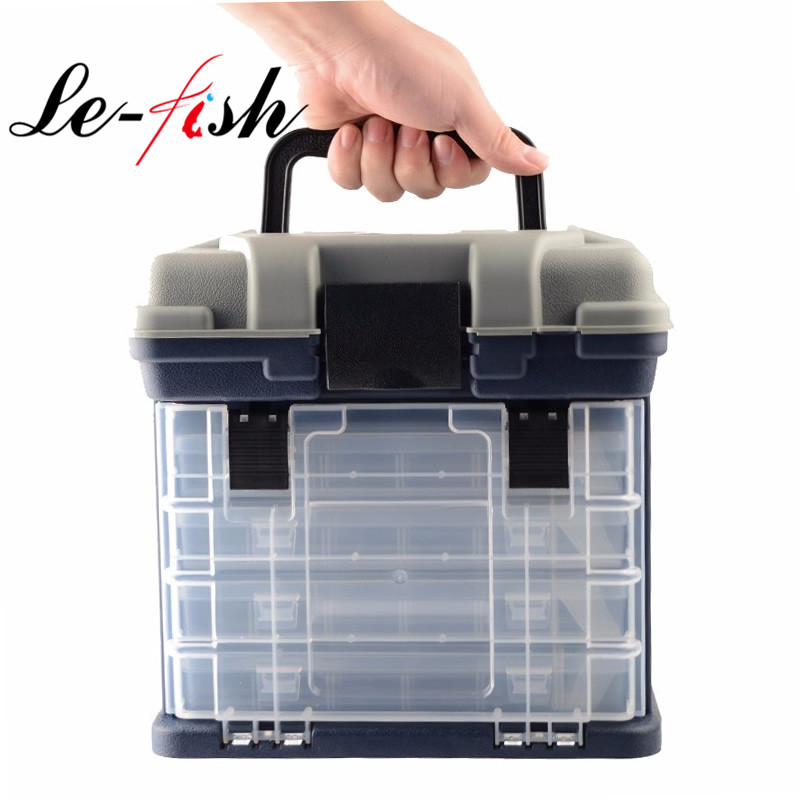 27*17*26cm 5 Layer PP+ABS Big Fishing Tackle Box High Quality Plastic Handle Fishing Box Carp Fishing Tools Fishing Accessories 4 color 50cm big folding live fish box thick eva carp rod bucket water tank with handle bags fishing tackle tools accessories