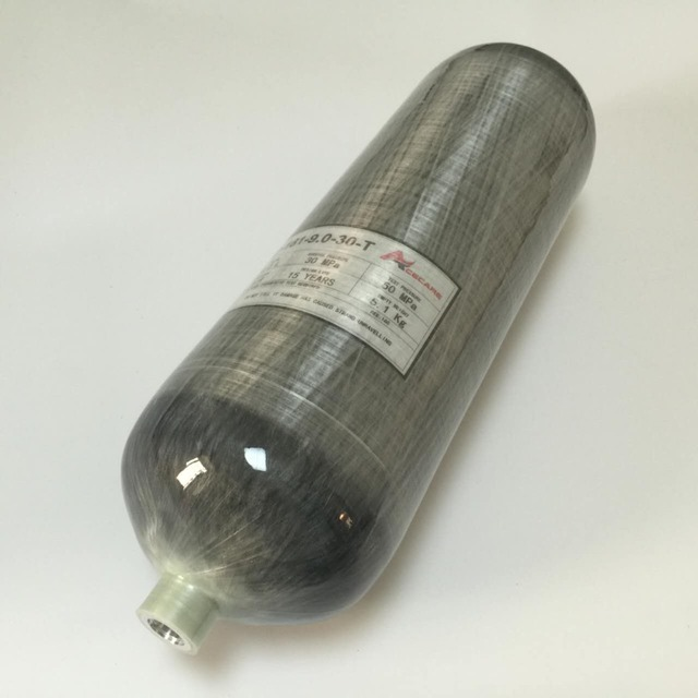 Empty 9L-30MPa 4500psi Carbon Fiber Tank for PCP Rifle Paintball Breathing Refilling Cylinder -N