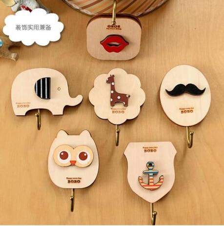 Sweet Home Decor Cartoon Wooden Wall Hook Kiss Cute Fawn Decorative Kitchen Ceramic Tile Hanging