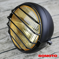 6.9 inch Universal Vintage Motorcycle yellow glass vintage custom headlight 12V 35W H4 CCCs certifited headlamp with guard|motorcycle head light -