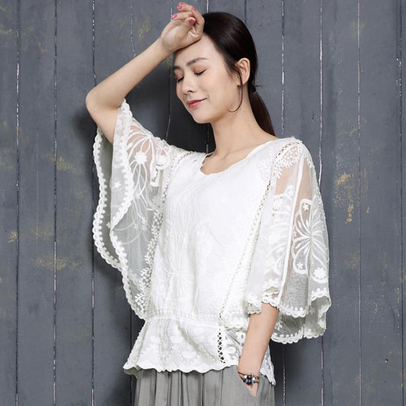 Spicylace Summer Women Lace Embroidery Vintage   Blouse     Shirt   Floral Lace White Elegant Street-wear Tops Batwing Sleeve SF18522