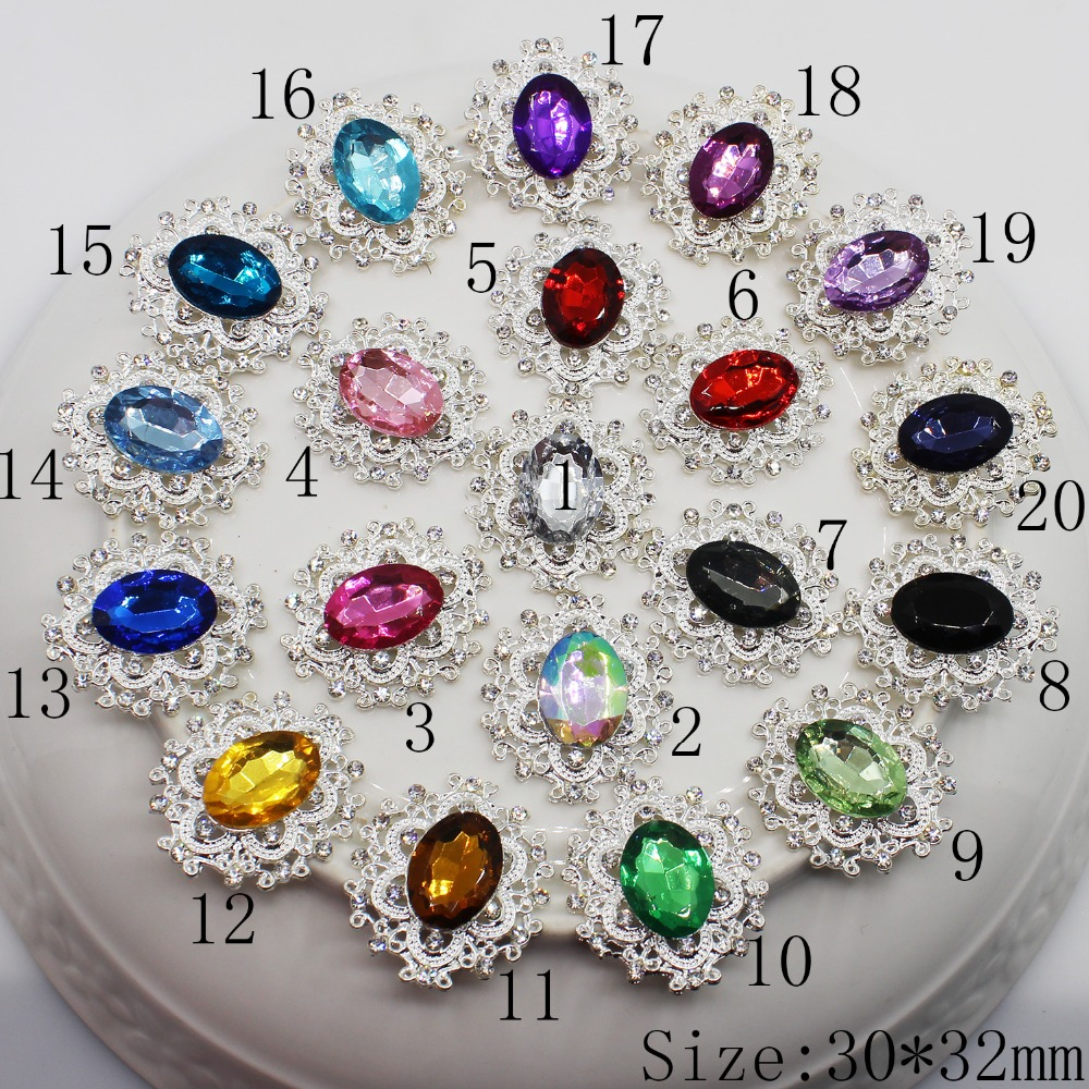 30*32mm Oval Wedding DIY 10pc Rhinestone Alloy Many Color Diamond Button,silver Plating,flat Back, Acrylic Beads In Middle