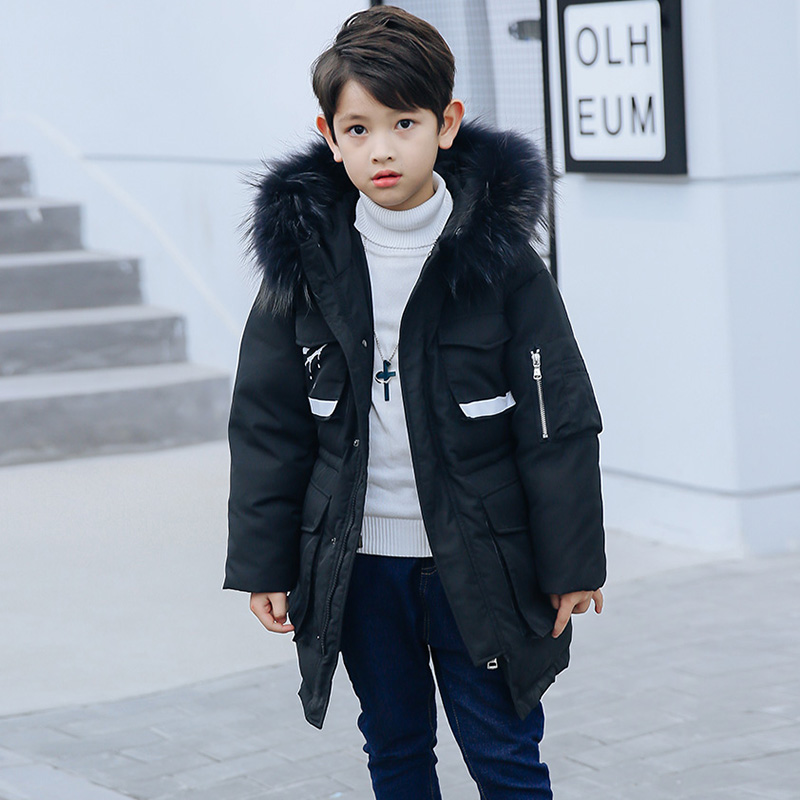 HSSCZL Boys Duck Down Jacket 2018 Brand New Winter Children Down Coat Overcoat Outerwear Natural Fur Collar Thicken Clothes 7-14 цена