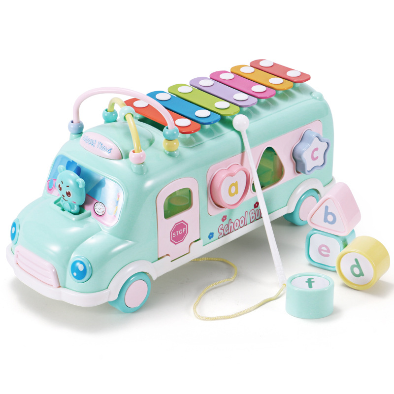 Plastic Xylophone Bus Car Music Instrument Toy For Children From 1 To 3 Kids Education Toddler Mobile Toy For Boys Girls