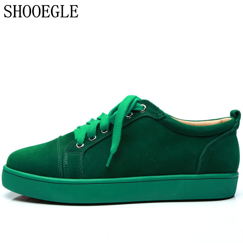 SHOOEGLE Plus Size39 47 Chaussures Hommes Men Green Suede Sneaker Lace up Flat Low Top Shoes Men Runway High Quality Shoes