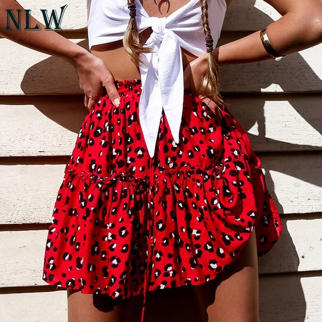 NLW Lace Up Red Leopard Print Mini Skirts Women Ruffles A Line High Waist Skirts Autumn Winter Casual Skirt