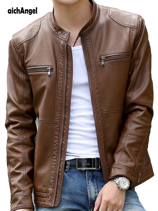 Men s Vintage Stand Collar Leather Jacket Motorcycle PU Faux Leather Jacket Fleece Lined Winter Outwear