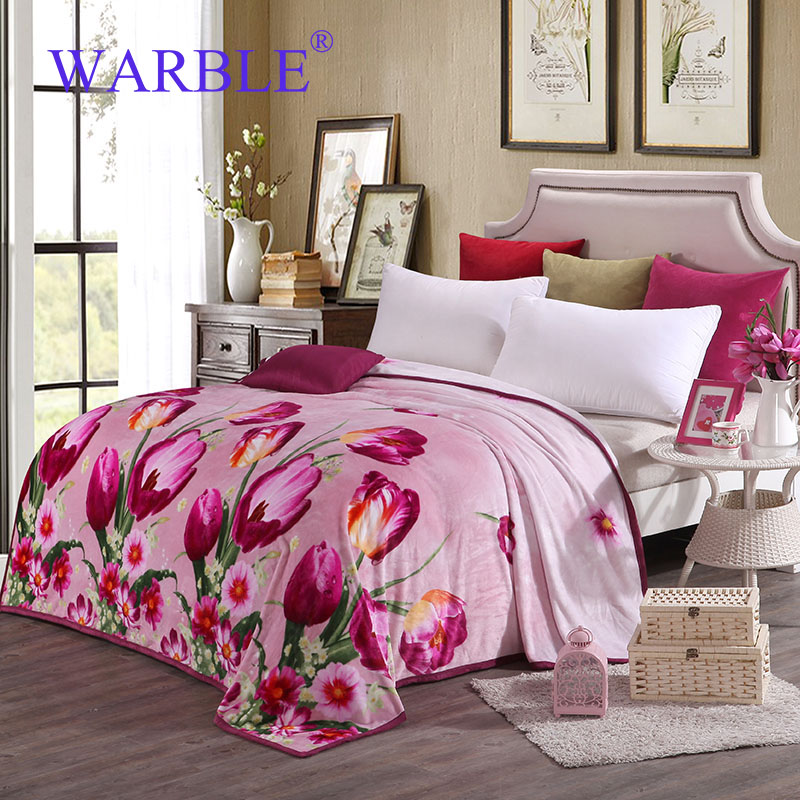 WARBLE Best Throws For Couch Of Fleece Blanket On The Bed Sofa For Wonen  And Girls Pink Pulips Pictures Plaid Best Gift