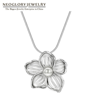 Neoglory Chinese Style Necklace Silver 925 Simple Flower Necklace Fashion Chain Necklace&Pendant Jewelry Brand New Gift Elegant