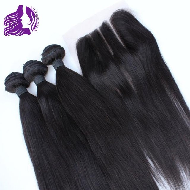 Three Part Lace Closure Malaysian Human Hair Weft Straight ( 4*4 ) Top Lace Closure Grade 7a Unprocessed  Human Hair Extensions