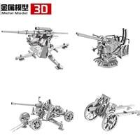 4pcs 3D Metal Puzzle Type 92 Infantry Gun UK Bofors Gun German Flak Gun US Anti