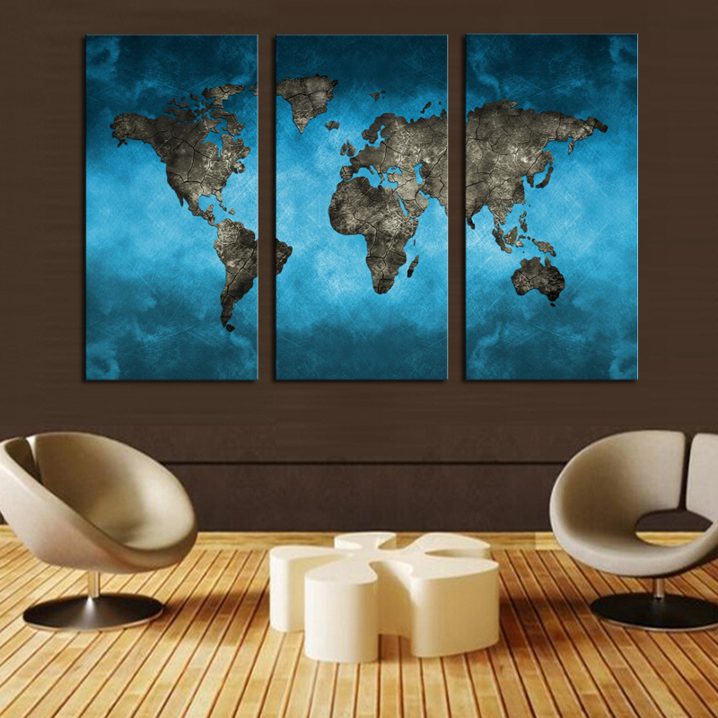 Abstract Silk Canvas Poster Vintage Drawing Tree World Map Home Wall Decor S15
