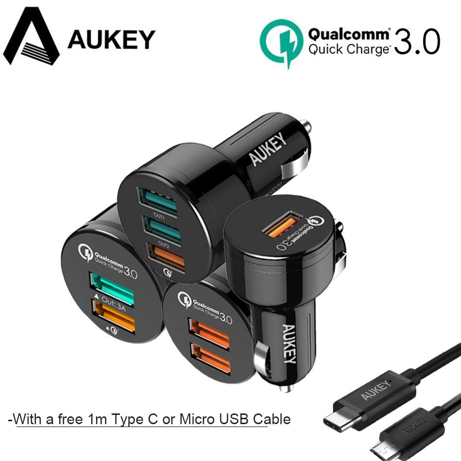 AUKEY Universelle Schnelle Ladegerät 3,0 USB Car Charger Auto Ladegerät Handy Schnelles Auto-Ladegerät Adapter + 1 mt Kabel Für Samgsung s8