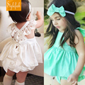 2016 New Summer European Style Children Cotton Lace Camisole Female Baby Suit Pants Two-Piece Dress