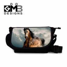Horse Printing School Messenger Bags for Boys Cool Cross Body Bags Animal Shoulder Bag with Strap Canvas Messenger bag for men(China)