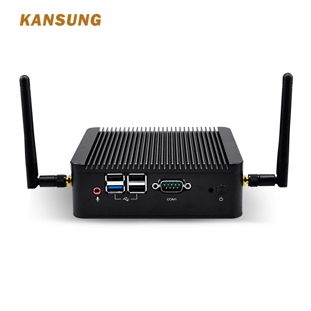 KANSUNG Mini PC Ubuntu Linux Windows Baytrail Quad Core J1900 2 Gigabit Lan Industrial Fanless Desktop Computer