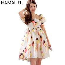 HAMALIEL 2017 Runway Summer Dress Women Brand Kawaii High Waist Ice Cream Print Square Collar Puff Sleeve Casual Pleated Dress