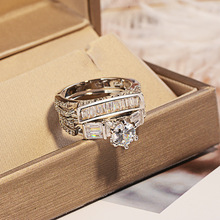 Vintage Luxury Female White  AAA Zircon Ring Set Fashion 925 Silver Filled Jewelry Promise Engagement Rings For Women Anillo