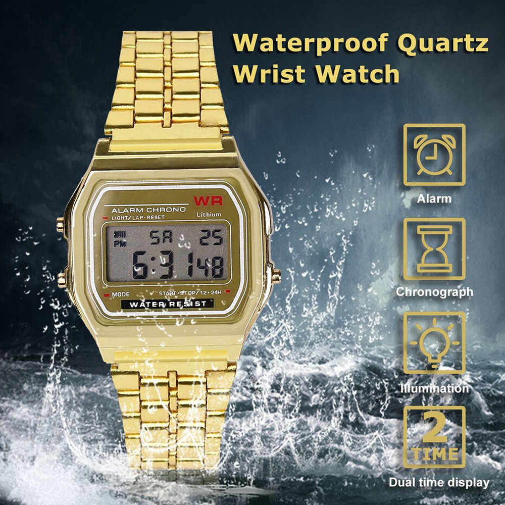 2019 LED Digital Waterproof Quartz Wristwatch Dress Golden Wrist Watch Women Men montre reloj relogio Military clock Sport Watch