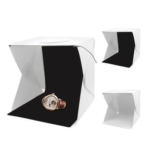 Image 3 - 40 سنتيمتر المحمولة للطي صندوق الضوء التصوير استوديو سوفت بوكس مصباح ليد لينة صندوق مجموعة أدوات الخيمة للهاتف DSLR كاميرا صور خلفية