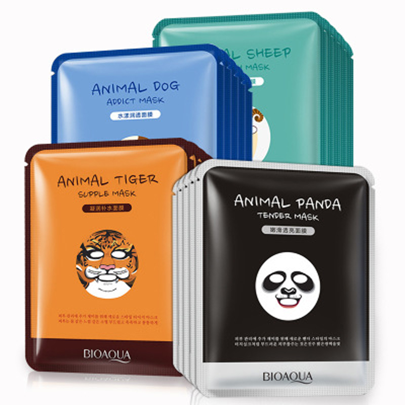 BIOAQUA  Four Kind Cute  Animal Mask 100Pcs Sheep /Tiger/Panda/Dog/Animal Moisturizing Beauty Face  Mask By DHL тканевая маска bioaqua animal tiger supple mask объем 30 г