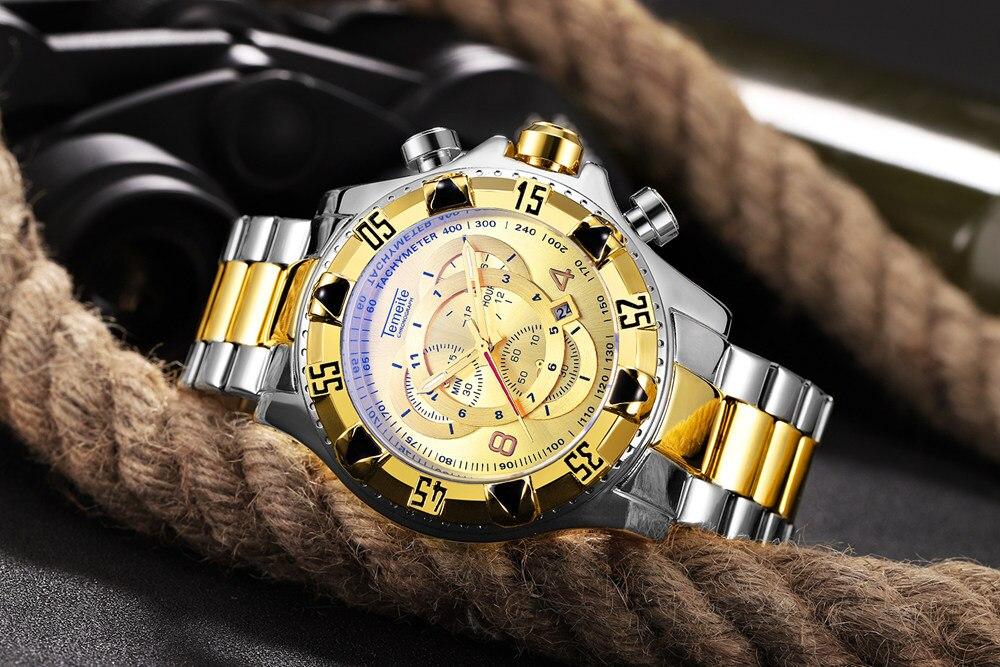 19 Top Brand Luxury Mens Oversize Watch Gold Business Steel Quartz Clock Waterproof Sport Military Chronograph Male Wristwatch 28