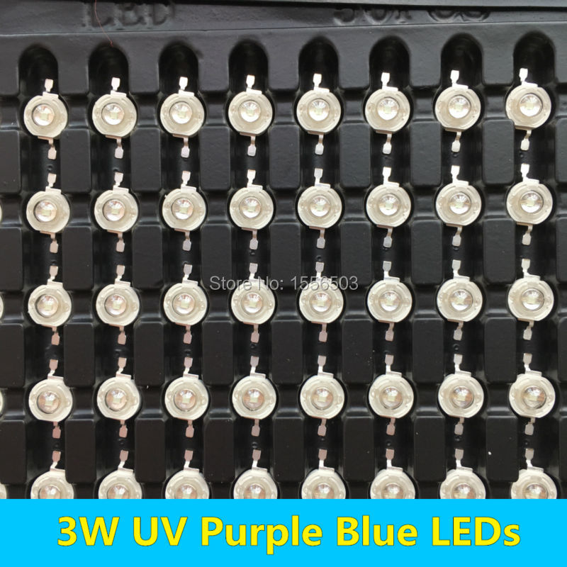 50 PCS 3W UV LEDs Purple Blue High Power Chip Ultra Violet Diode 390 400 410 420 430nm Wavelength 700mA for LED Flashlight