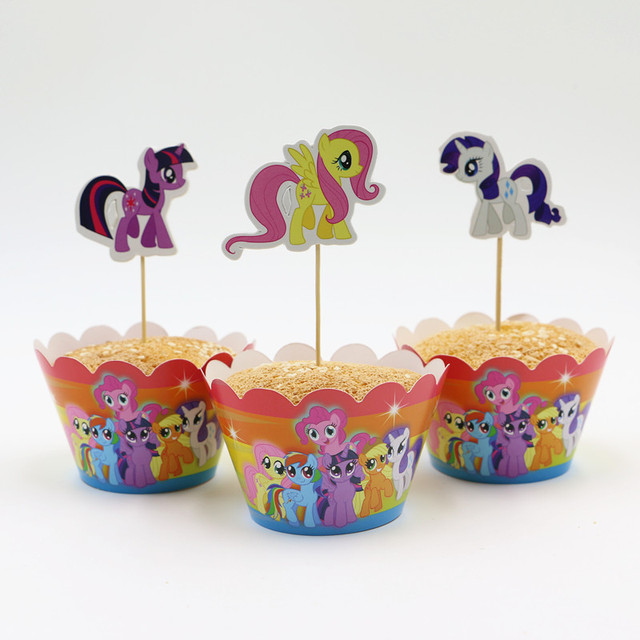 US $2 32 |Hot Sale My little pony cupcake wrappers and toppers for kids  birthday decoration party supplies cake toppers picks-in Cake Decorating