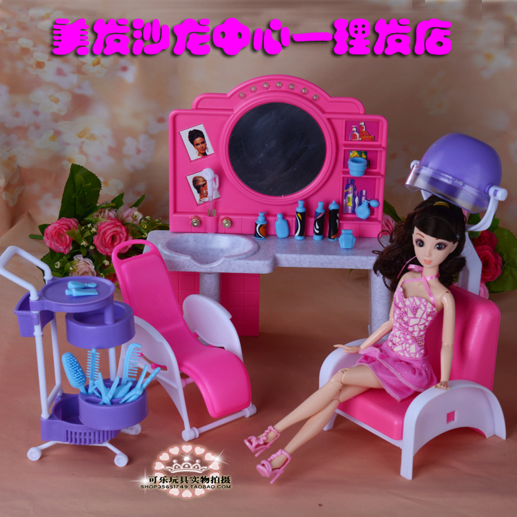New Funny Doll Barber Shop Hairdressing Salon Furniture Play House For Barbie Doll 1/6 Puzzle Toys Girls