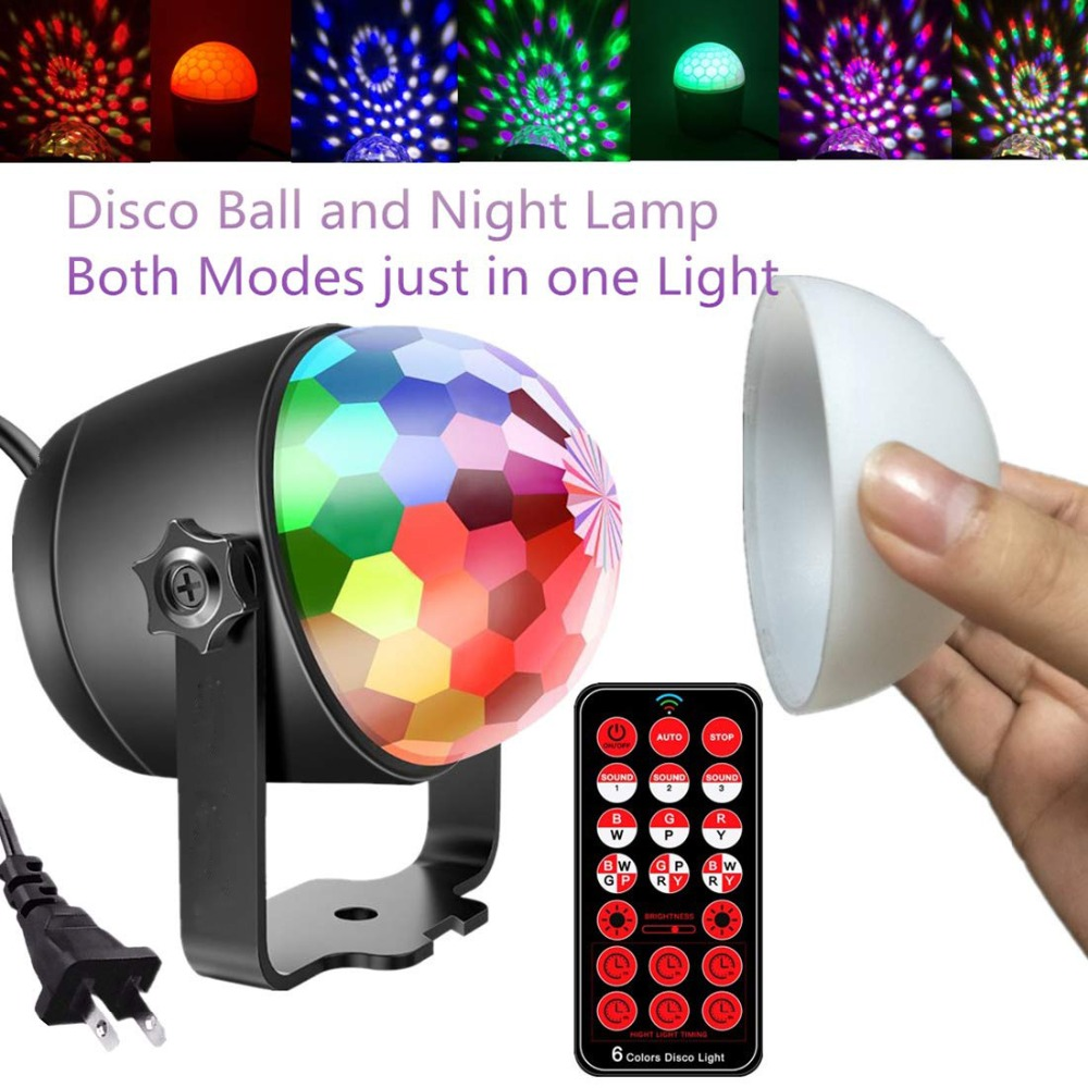Disco Ball Party Night Lights 6 Colors Music Sound Activated Rotating Magic LED Strobe Lamp Stage Light For Christmas Birthday