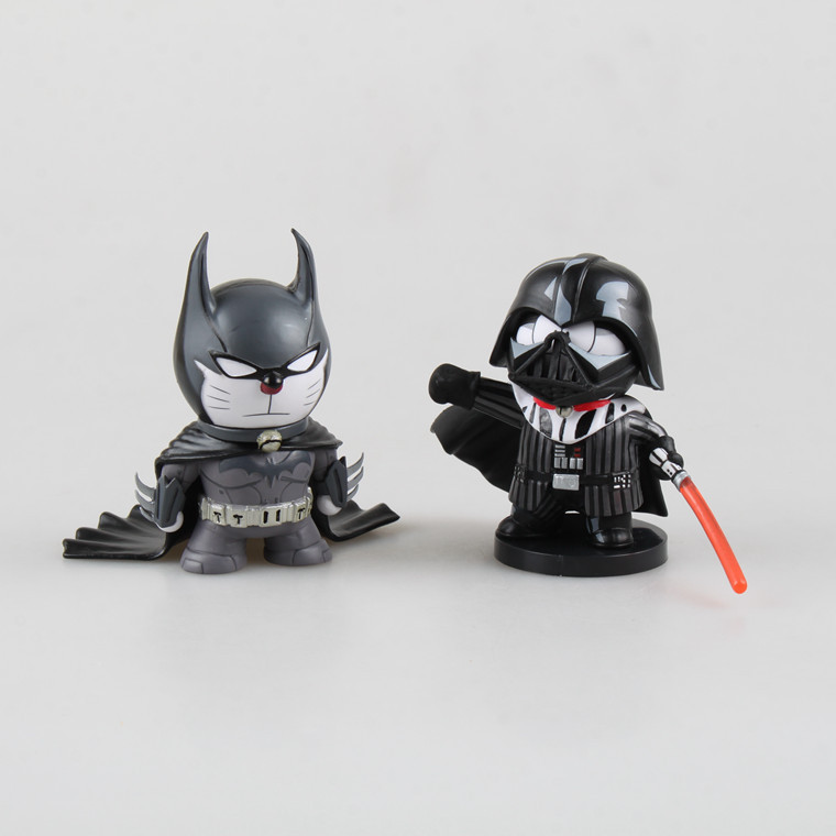 2pcs/set Anime Cartoon Doraemon Cosplay Darth Vader Batman PVC Action Figure Collectible Model Toy 2 Styles gifts Free shipping