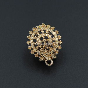 Image 5 - Clip Earrings Post with Loop Hanger Hollow Filigree Circel Flower DIY Metal Stud Earrings Findings 18x21mm 10 Pairs