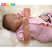 Real Lifelike Reborn Baby Doll 20 Inch Sleeping Princess Girl Babies Silicone Newborn Doll Toy With Curved Mohair Kids Playmate